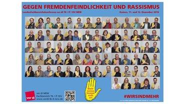 Plakat Landesfachbereichskonferenz 9 NRW - Gegen Fremdenfeindlichkeit und Rassismus - Teaserformat